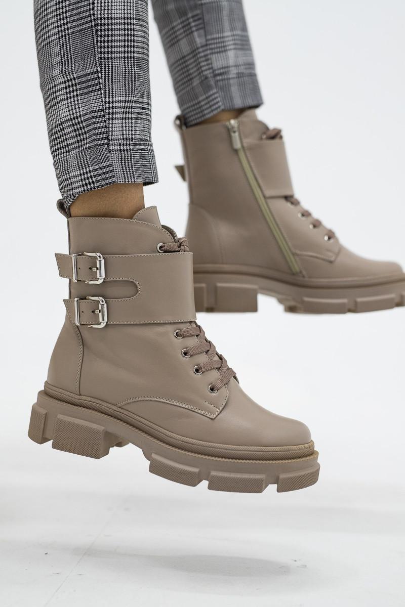 Ботинки женские кожаные зимние бежевые Mkrafvt 2020