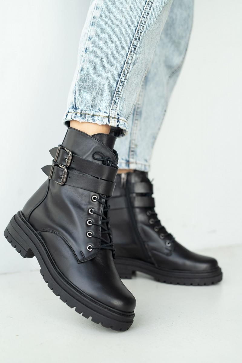 Жіночі черевики шкіряні весна/осінь чорні Mkrafvt 2020
