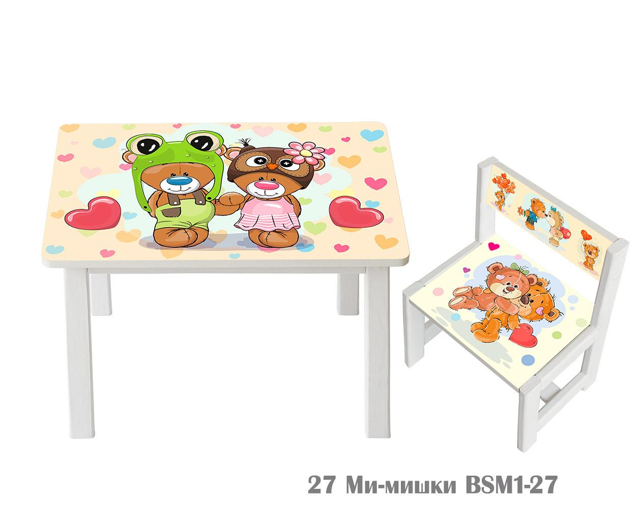 """Комплект стол и 1 укрепленный стул детский """"Ми-мишки"""""""