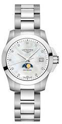 Часы наручные женские LONGINES CONQUEST L3.381.4.87.6, кварц, 11 бриллиантов, водозащита 300WR
