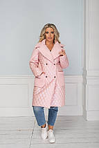 """Стеганое женское пальто """"NONSAN"""" с меховым воротником и карманами (большие размеры), фото 2"""