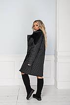 """Стеганое женское пальто """"NONSAN"""" с меховым воротником и карманами (большие размеры), фото 3"""