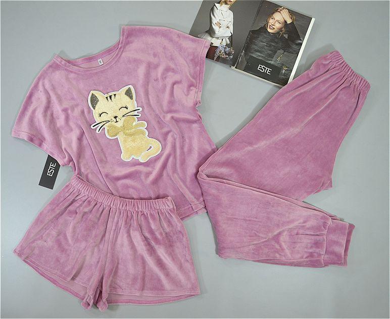 Пижама женская теплая три предмета. Комплект футболка штаны шорты.