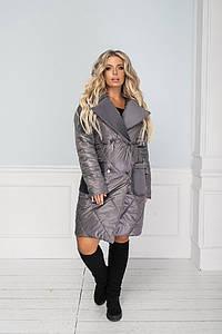 """Стеганое женское пальто """"NONSAN"""" с меховым воротником и карманами (большие размеры)"""