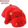 Подушка игрушка Бегемот 55 см красная
