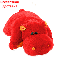 Подушка игрушка Бегемот 55 см красная, фото 1