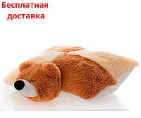 Детская подушка-игрушка Мишка 55 см шахматка