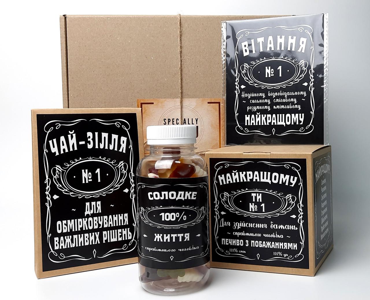 """Набор для мужчины """"Jack Daniel's"""" №4 (Джек Дениелс): конфеты, печенье, чай, открытка"""