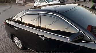 Дефлекторы окон Toyota Camry V50/C55 (2011-2017) с хром молдингом