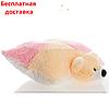 Детская подушка-игрушка Мишка 55 см шахматка розовая