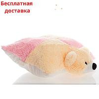 Детская подушка-игрушка Мишка 55 см шахматка розовая, фото 1