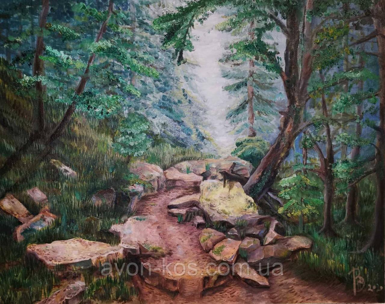 """Картина маслом """"Лісова стежка в Карпатах"""", живопис 40*50"""