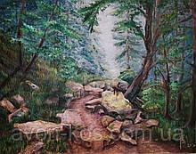 """Картина маслом  """"Лесная тропа в Карпатах"""",  живопись  40*50"""