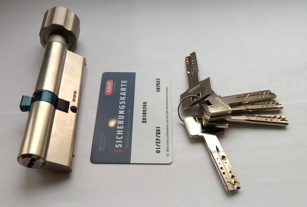 Цилиндр Abus M12R 100мм (30х70T) Ключ-вертушка 5 кл. Матовый хром