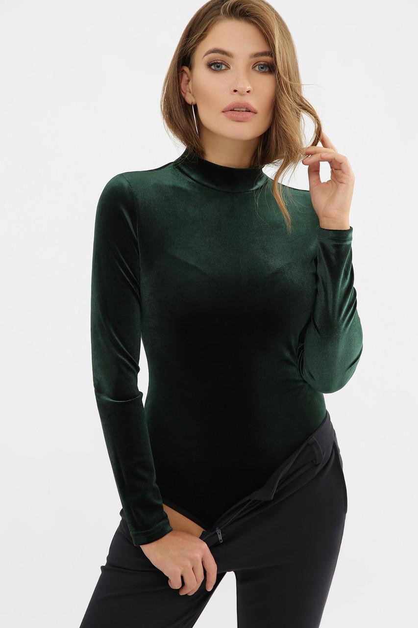 Женское боди велюровое с воротником стойкой зеленое Жоржина