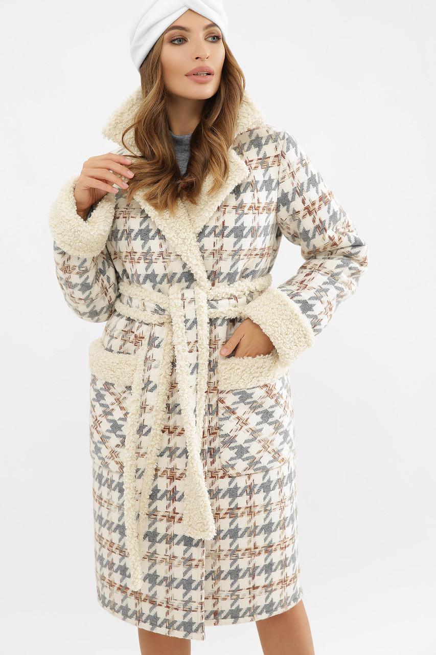 Женское пальто зимнее гусиная лапка серое ПД-14-100