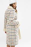 Женское пальто зимнее гусиная лапка серое ПД-14-100, фото 4
