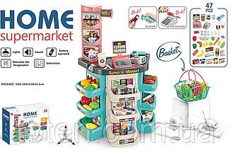 Супермаркет 47 предметів Кошик для покупок, підсвічування, реалістичні звуки сканера, ваги 668-86