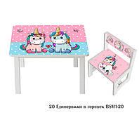 """Комплект стол и 1 укрепленный стул детский """"Единорожки в горошек"""""""