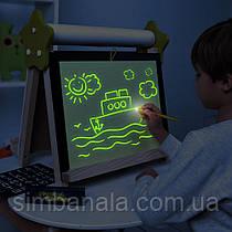 Детский двухсторонний магнитный мольберт для рисования светом, фломастерами, мелом и красками, ТМ Люмик