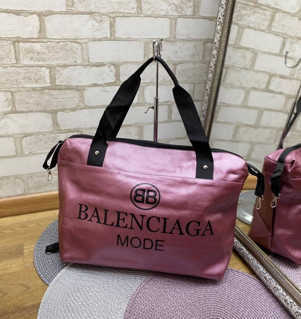 Женская спортивная дорожная сумка небольшая через плечо фиолетовая кожзам