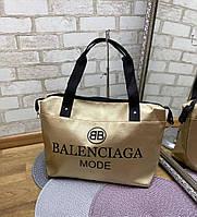 Женская спортивная дорожная золотистая сумка небольшая через плечо кожзам, фото 1