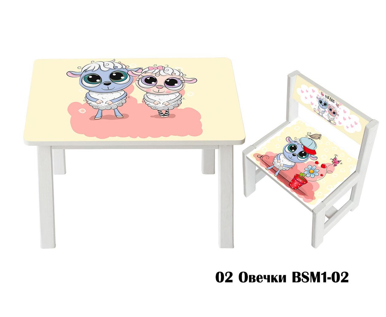 """Комплект стол и 1 укрепленный стул детский """"Овечки"""""""