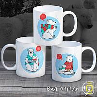 """Семейные белые чашки (кружки) с принтом """"Белые медведи"""""""