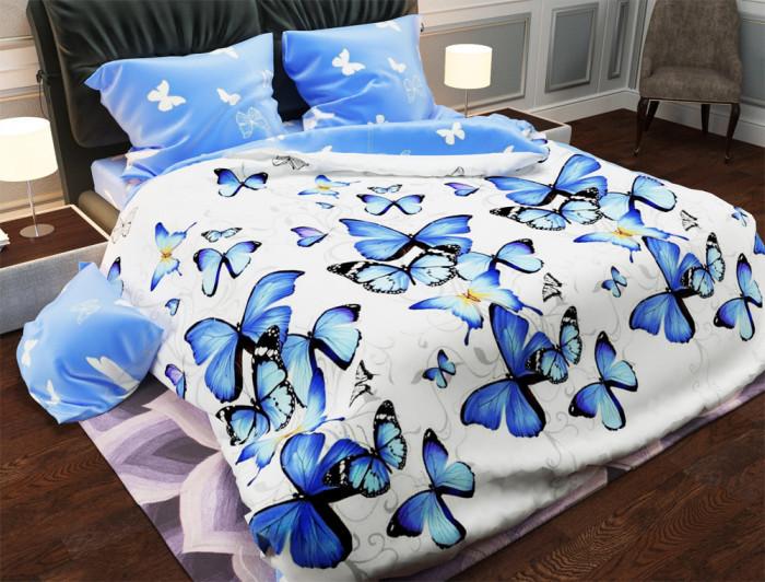 Двуспальный набор постельного белья Черешенка Gold №15590AB 180х220 Бязь Голубой (BC2G15590AB)