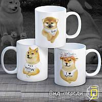 """Семейные белые чашки (кружки) с принтом """"Собаки"""""""
