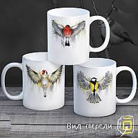 """Семейные белые чашки (кружки) с принтом """"Птицы"""""""