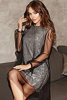 Женское нарядное платье Серебро