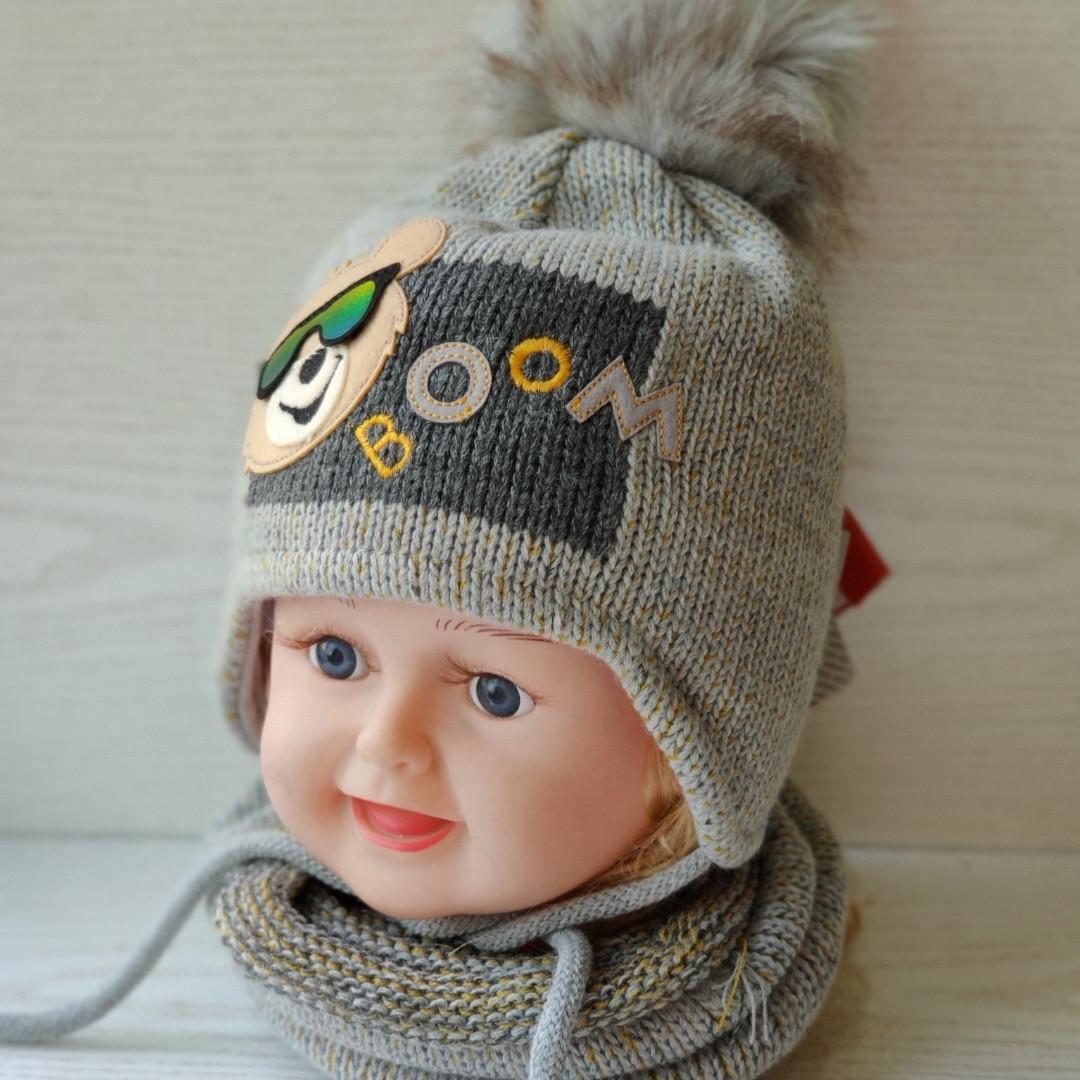 Комплект для мальчика (шапка+хомут) Ambra N8 Размер 46-48 см Возраст 1-2 года