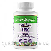 Цинк пиколинат Paradise Herbs Earth's Blend Zinc Picolinate 30mg 90 Vegetarian Capsules