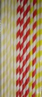 Трубочки для напитков полосатые картонные 10 шт 4 цвета