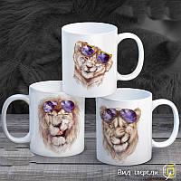 """Семейные белые чашки (кружки) с принтом """"Львы"""""""