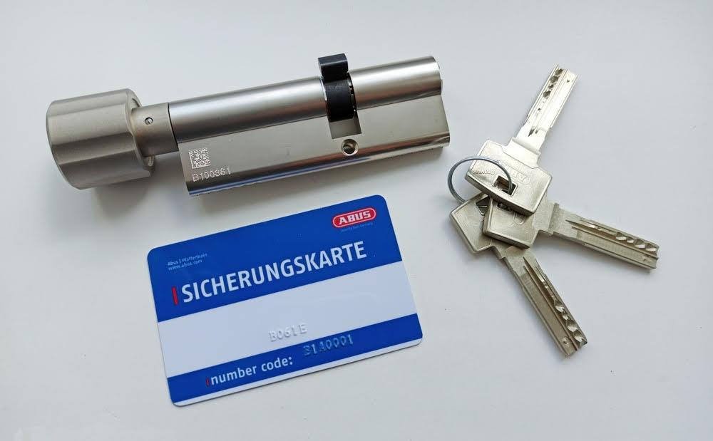 Цилиндр Abus Bravus compact 1000 75 (30x45Т) ключ-поворотник матовый хром
