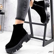 Ботинки черные замшевые внутри набивная шерсть, фото 2