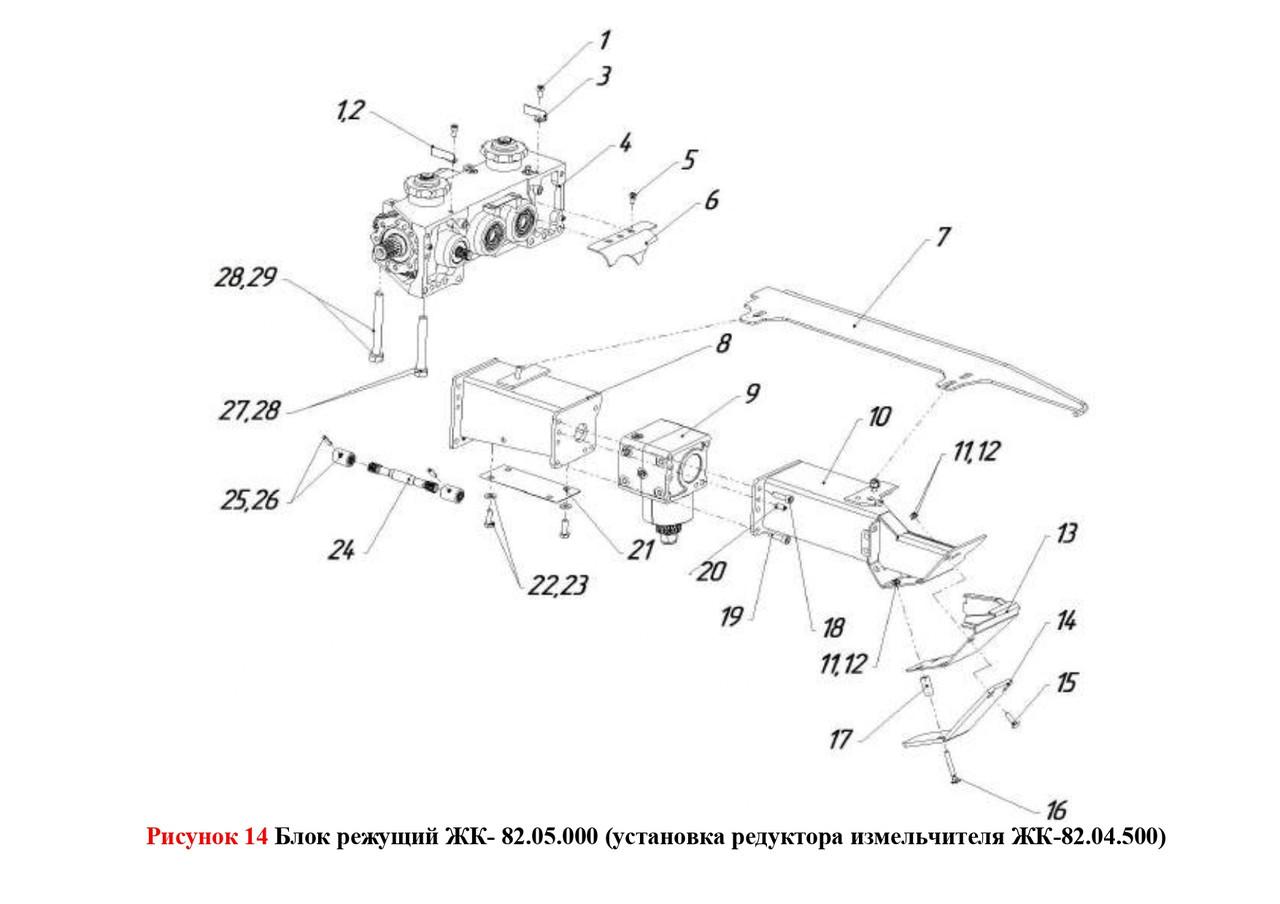 Блок режущий ЖК- 82.05.000 (установка редуктора измельчителя ЖК-82.04.500)