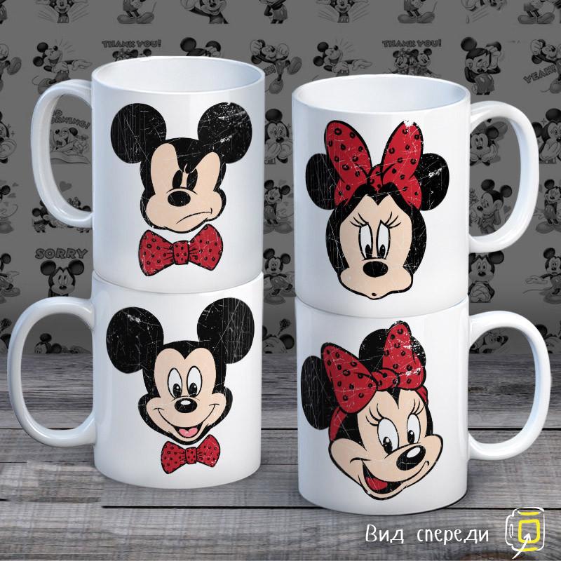 """Семейные белые чашки (кружки) с принтом """"Семейство Маусов"""""""