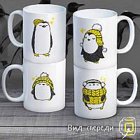 """Семейные белые чашки (кружки) с принтом """"Пингвины"""""""