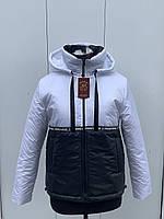 Женская демисезонная куртка двухцветная короткая на весну и осень, модель Спорт, размеры 44 -54.
