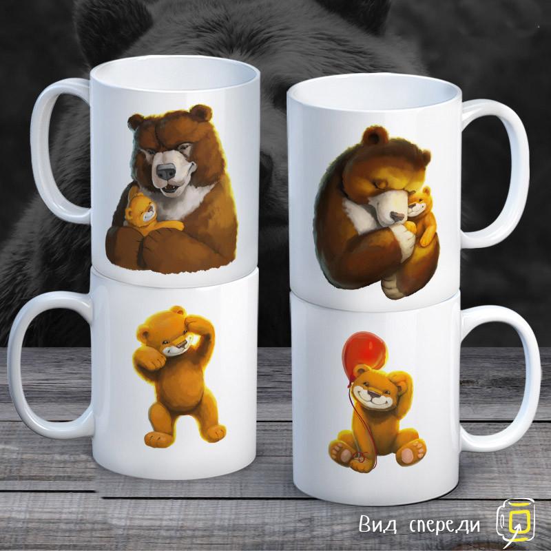 """Семейные белые чашки (кружки) с принтом """"Медведи"""""""