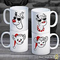 """Семейные белые чашки (кружки) с принтом """"Семейство Оленей"""""""