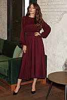 Женское платье миди Марсала