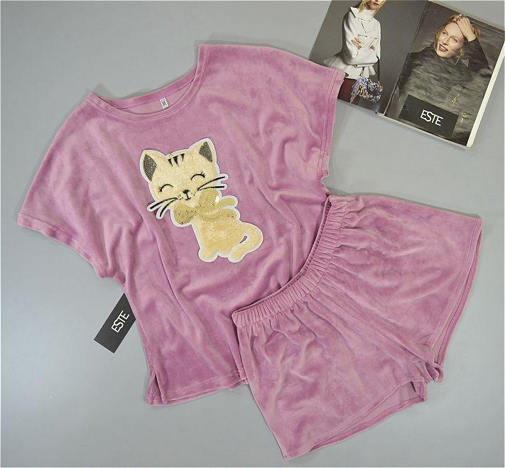 Розовая теплая пижама с кошкой Este .