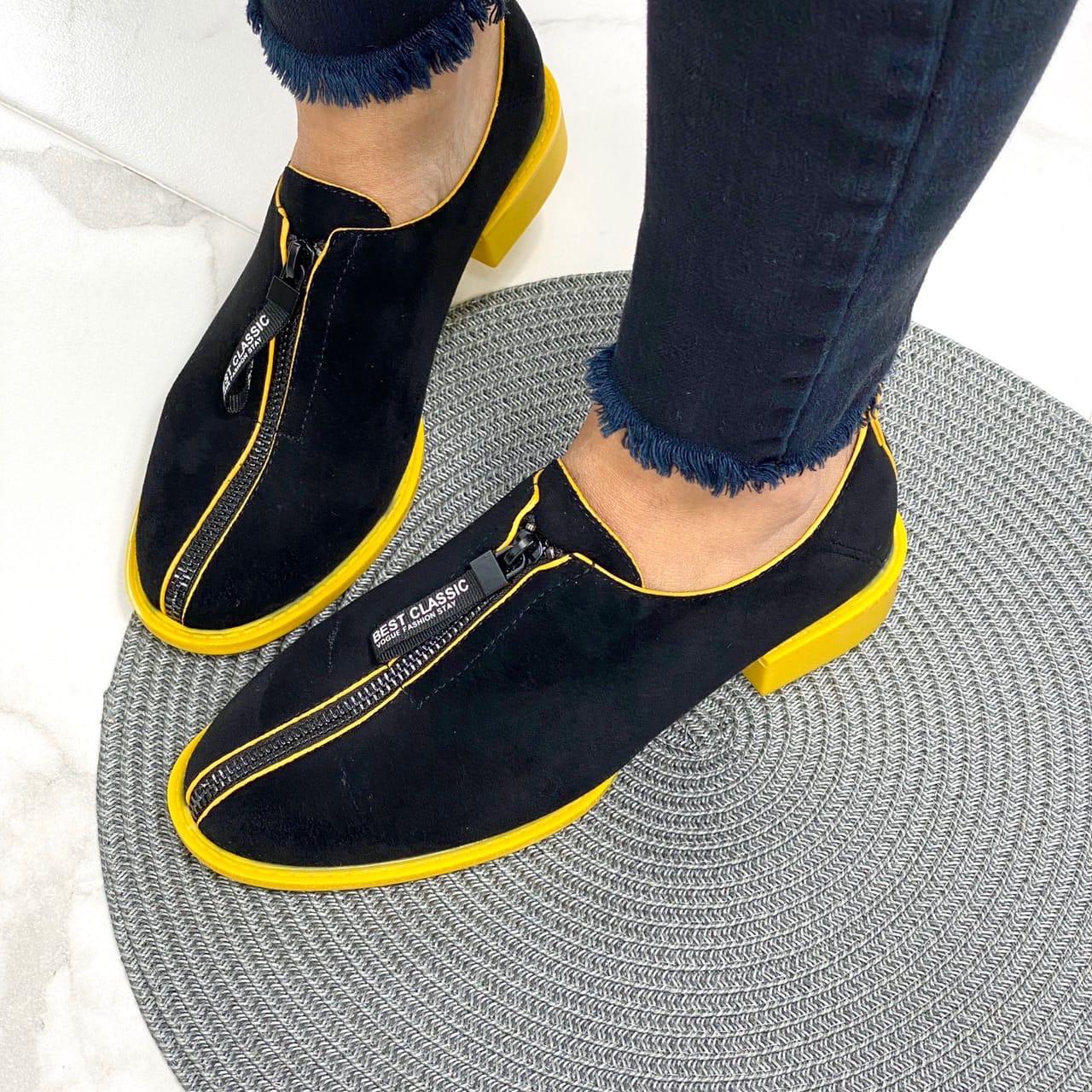 Замшевые женские туфли черные с желтым