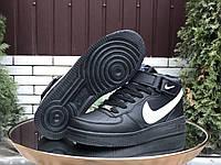 Мужские кожаные зимние кроссовки Nike Air Force чёрные с белым, фото 1