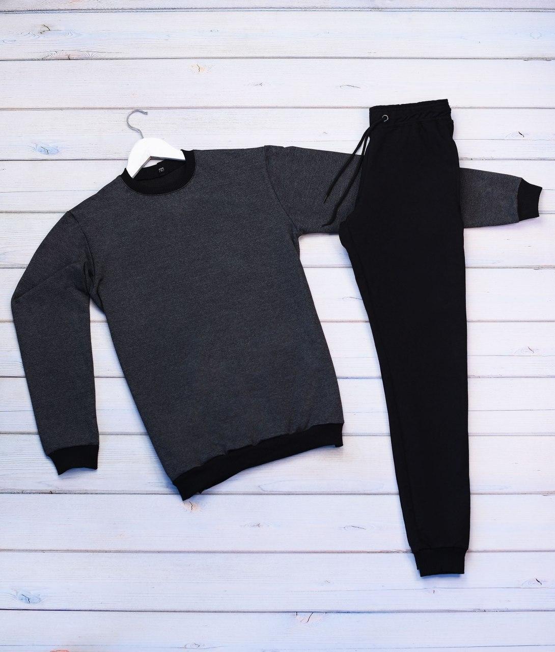 Чоловічий спортивний костюм реглан сіра кофта, чорні штани