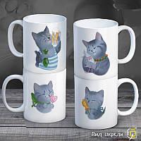 """Семейные белые чашки (кружки) с принтом """"Cats"""""""